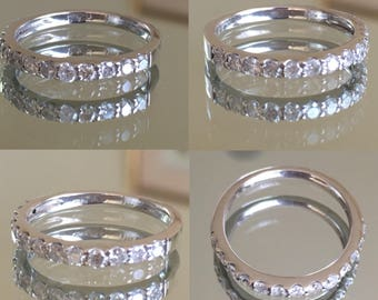 18K White Gold Half Eternity ring with 0.43 CT diamonds / wedding band!