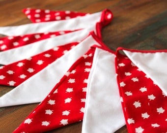 "Canada Fabric Bunting, 6'5"" (2m),  Red and White Bunting, Canada Day Bunting, Canada Flags, Canada Wall Decor, Canada Banner, Canada"