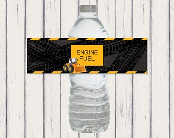 Digger Water Bottle Label, Digger Drinks Label, Construction Party Decorations, Dump Truck, Front Loader, Birthday Decorations,