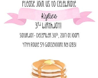 Pancakes and pajamas party invite