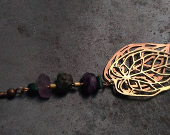 Brass and Copper Lace Leaf Earring,one-side earring with malachite,turquise and amethyst stones,lace leaves,real leaf design,nature jewelry