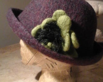 Felted Wool Hat - Purple with Green Flower