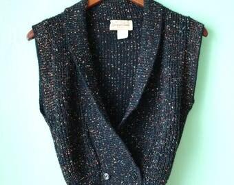80s Black Speckled Sweater Vest