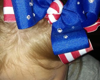 4th of july bow gems and stripes #1