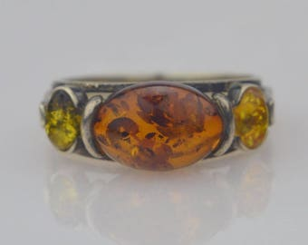 Sterling Silver 925 Vintage Cabochon Amber Ring Size 10.25(01571)