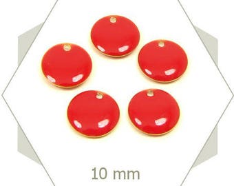 6 sequins Red 10 mm SEC07 charms
