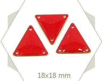 brick red enameled triangles SET03 6 connectors