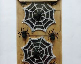 Glitter Halloween Spiderweb Scrapbook Stickers by Jolee's Boutique, Parcel Dimensional Stickers, Spiders