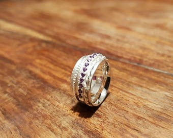 Spinner ring. Small size J. Children's jewellery. Sterling silver,Fidget, anxiety, spinning ring. Amethyst, bridesmaids gifts. Handmade Love