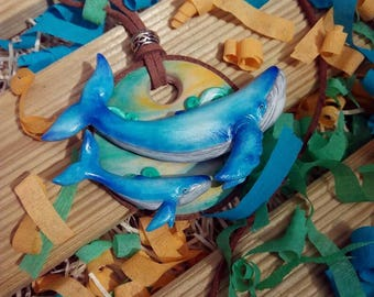 10% discount/OFF - Collar whales / / Flying whales necklace
