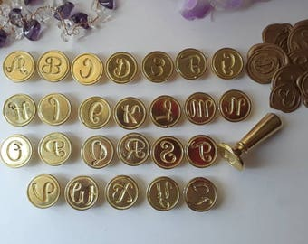 "Alphabet Script Initials A to Z wedding party invitation self adhesive wax seal peel sticker 3/4"" 5 pieces"