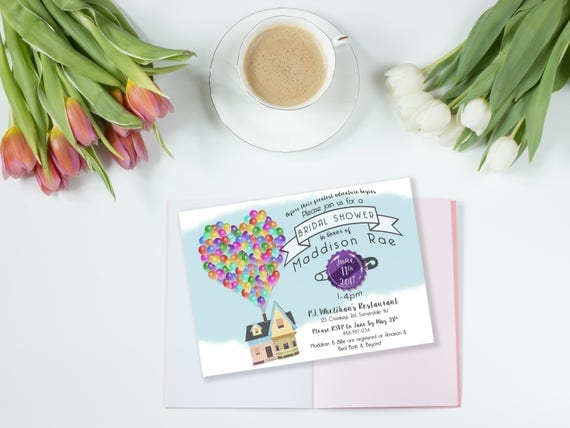 Up Themed Wedding Invitations: Custom Printable Bridal Shower Invitation Up Theme
