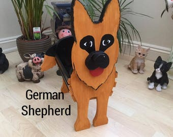 GERMAN SHEPHERD, wooden,garden,planter,ornament,decoration,name tag,custom made,