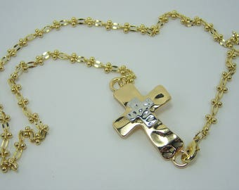 N462, Cross, Gold and Silver Sideways, Necklace