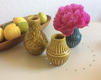 Lovely set of 3 mini west german pottery vases by Bay