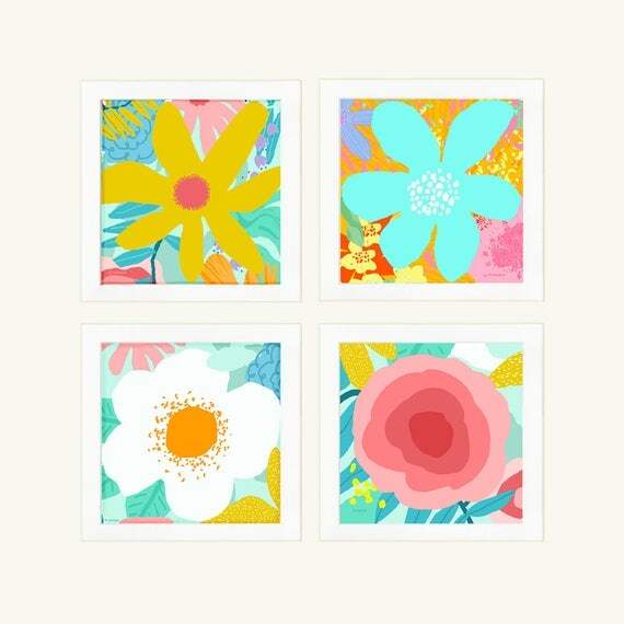 Set of 4 graphic abstract flower prints, wall decor, girl's nursery, home decor, print for kids room, bright pastel flowers, kids decor.