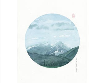 D2 PRINTS, Canada, watercolor print, Asian art,circle art, Feng shui decor,wall art, watercolor painting landscape,mountain art,nature art
