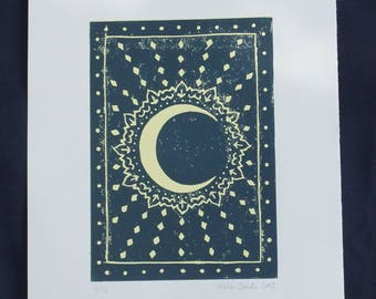Moon and stars linocut print - unique, hand-printed, limited edition