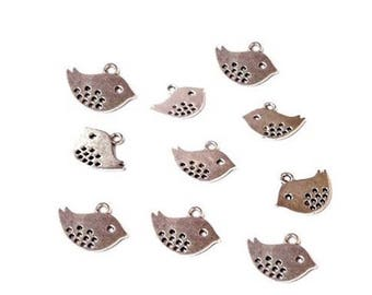 10 charms pretty birds - length 15 mm - silver color