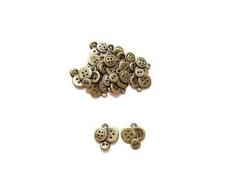 50 bronze button charms pendants