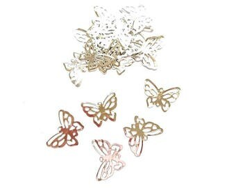 100 print matte silver Butterfly connectors