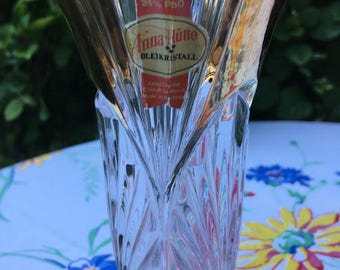 Anna Hutte Lead Crystal Vase from Germany