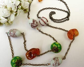Long necklace, necklace, glass beads handcrafted amber raw honey from wild plum blossoms