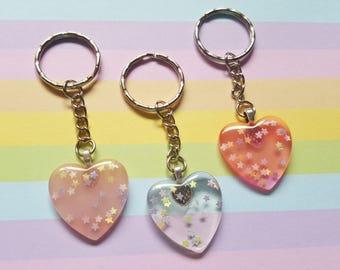 Glitter heart keyring, Heart bag charm, Heart keyring, Glitter keyring, Heart, Glitter, Glitter heart, Sparkly keyring, Sparkle, Hearts
