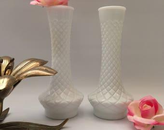 Pair of Diamond Pattern Milk Glass Vases