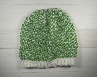 Knit beanie hat | Multicolor knit hat | Winter women's hat | Green knit beanie | Hand knit hat | Gift accessories | Acrylic beanie hat