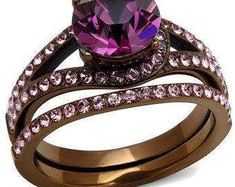 Amethyst Crystal double ring
