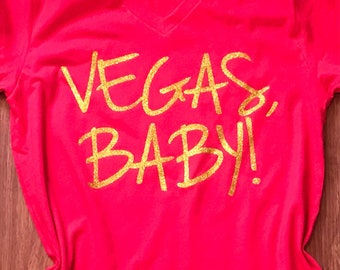 Vegas Baby Bling vneck or crewneck T-Shirt - vegas shirt - Vegas Vacation Shirt -Glitter Vacation Shirt - Las Vegas Vacation Bling Shirt