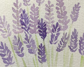Hand Painted Watercolour Lavender Greetings Card