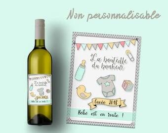"""Etiquette bouteille vin ou champagne """"Bébé est en route"""""""