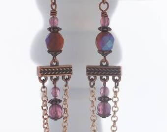 Chandelier earrings; Drop earrings; Antique copper; Czech bead earrings; Purple and copper earrings