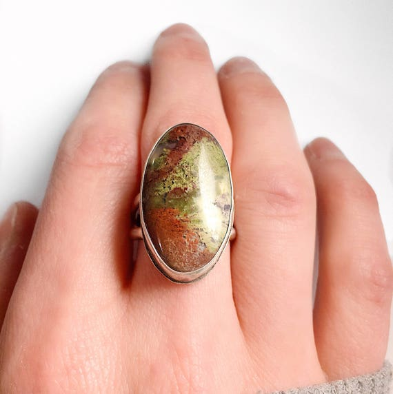 Moss Agate Ring / Moss Agate / Agate Ring / Silver Agate Ring / Statement Ring / Gemstone Ring / Crystal Ring / Womans Ring / Boho Ring