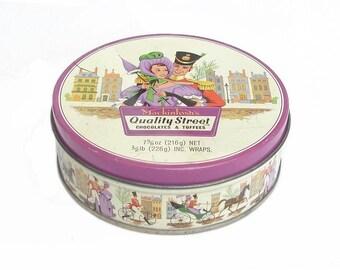Vintage ENGLISH Mackintosh Candy Tin. Mackintosh's Quality Street Chocolates and Toffees Metal Tin. Round Purple Container Can Storage Box