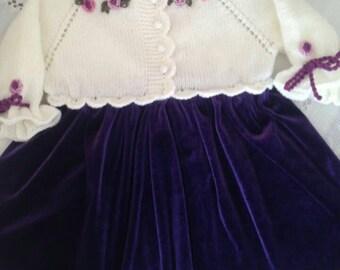 Crochet Velvet Baby Dress, Purple White Velvet Dress