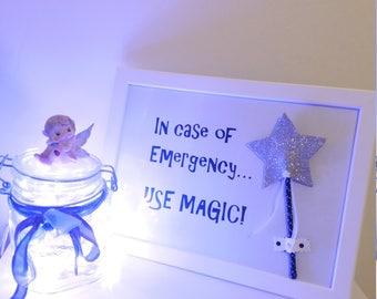 "Picture frame Magic Wand/Magic wand ""in case of emergency use magic"""