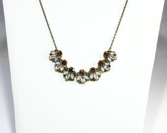 Crystal Bib~Topaz Crystals~Antique Gold Chain Necklace~Bib Necklace~Statement Necklace~Special Occasion~Crystal Necklace~Gift for Women