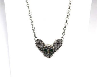 Keep Calm & Hoot On~Antique Gold Cable Chain~Winged Owl Pendant~Gift for Owl Lovers~Owl Pendant Necklace~Owl Jewelry