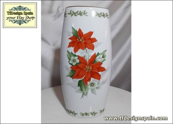 Vase porcelain, Porcelain vase white,Porcelain vase with flowers,Porcelain vase Poinsettia flowers,Porcelain vase red,Vase porcelain Etsy
