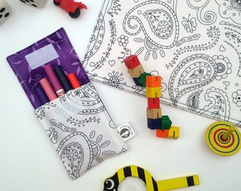 Small pocket with markers and 5 washable markers. Paisley pattern, purple interior. Coloring, Mandala, Color Pencil case I felt