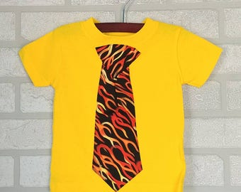 Yellow T-shirt with Flame Tie