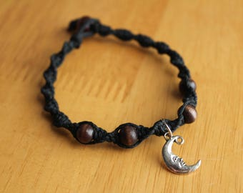 Black Hemp Bracelet with Silver Crescent Moon Charm - Great Handmade Gift Idea - Comfortable Jewelry - Mystic Bracelet with Moon Charm