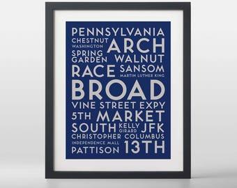 Philadelphia USA City Streets Typography Art Print