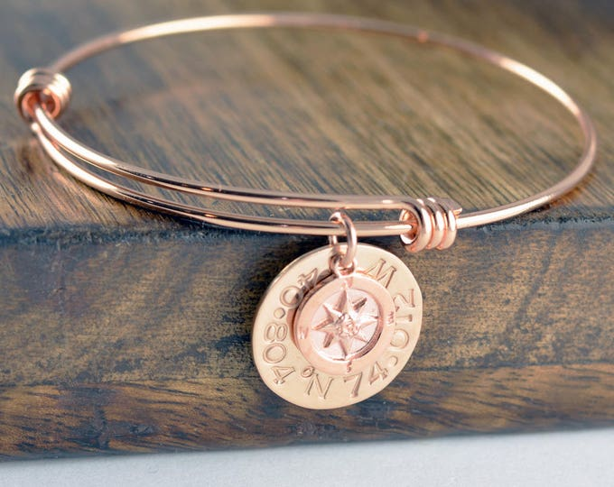 Rose Gold Coordinate Bracelet, Latitude Longitude Bracelet, Custom Coordinates, Coordinate Jewelry, Hand Stamped Bracelet, Coordinates Gift