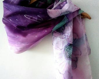 Hand painted silk handkerchief in precious shades of pink and purple