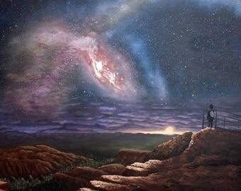 Original Oil Painting, Space, Nebula, Fine Art, Galaxy, Milky Way, Mystical, Night, Landscape, Sunset, Cliff, Rocks, Stars, Sky
