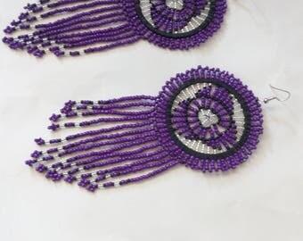 African Maasai Beaded Earrings | Purple Zulu Beaded Earrings | Dangle Earrings | Tribal Earrings | Elegant | Gift For Her